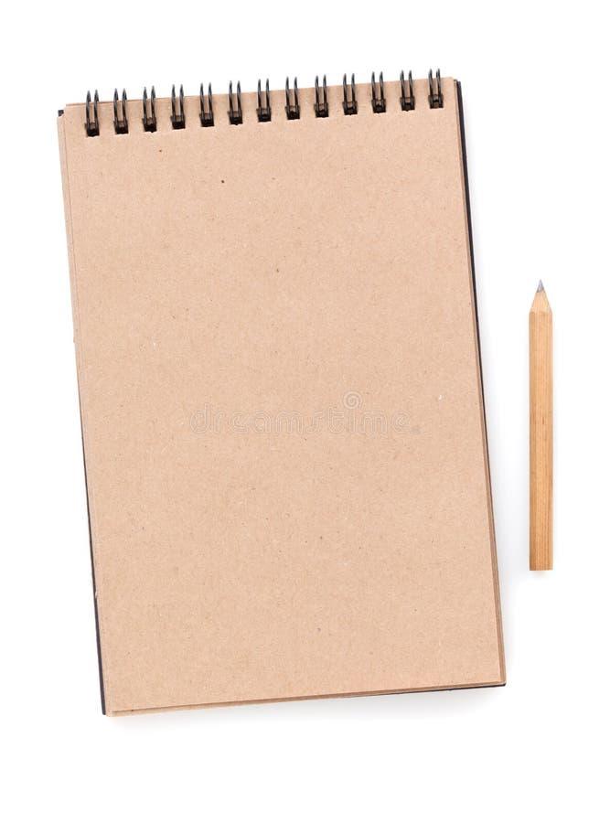 Notepad för brunt papper arkivbild