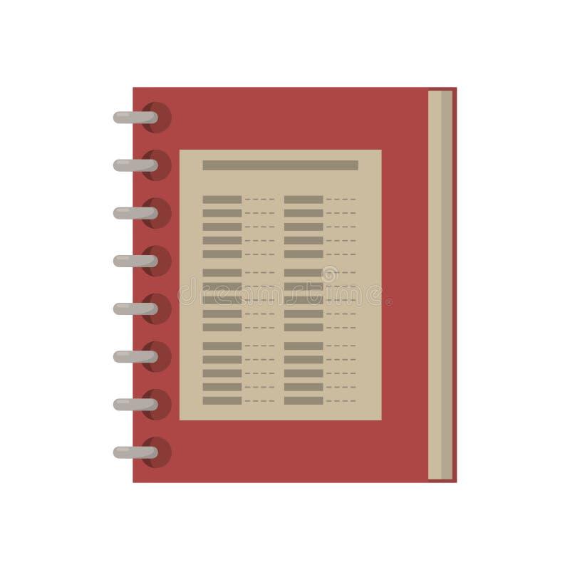 Notepad för spiral för matrestaurangmeny vektor illustrationer