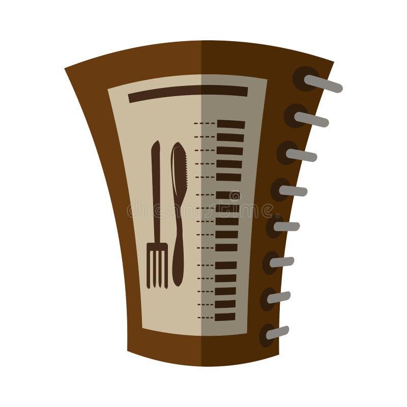 Notepad för spiral för meny för tecknad filmmatrestaurang stock illustrationer