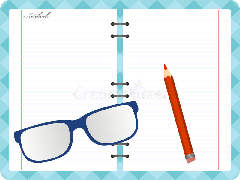 Notepad with folded glasses and red pencil. Vector vector illustration