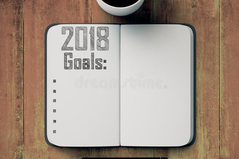 Notepad with 2018 goals list royalty free illustration