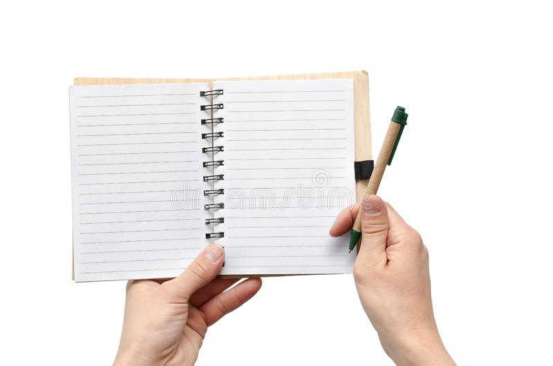 Notepad in hands. royalty free stock photos