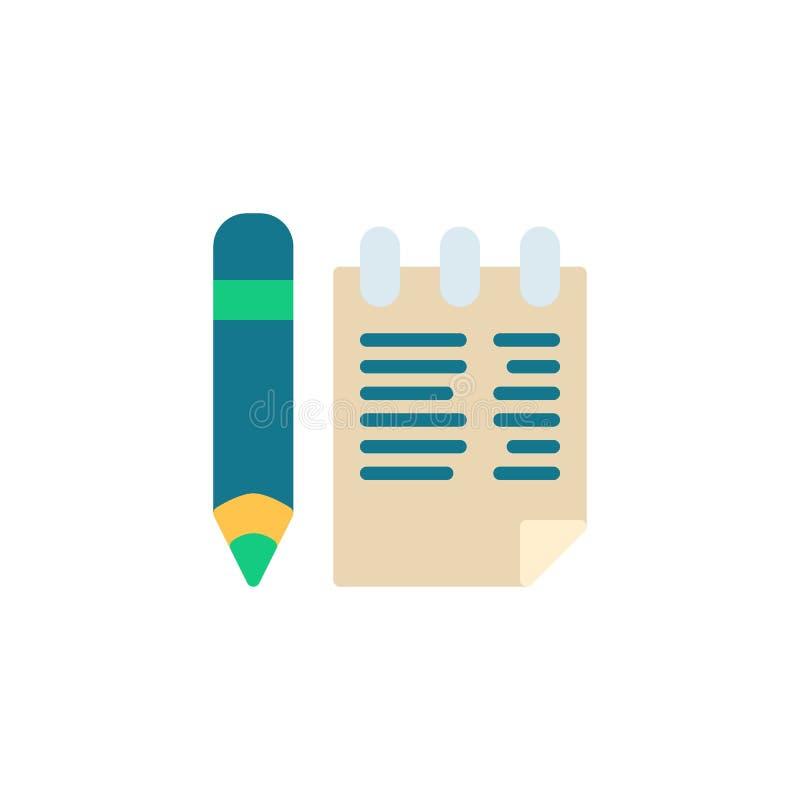 Notepad i ołówka mieszkania ikona ilustracji