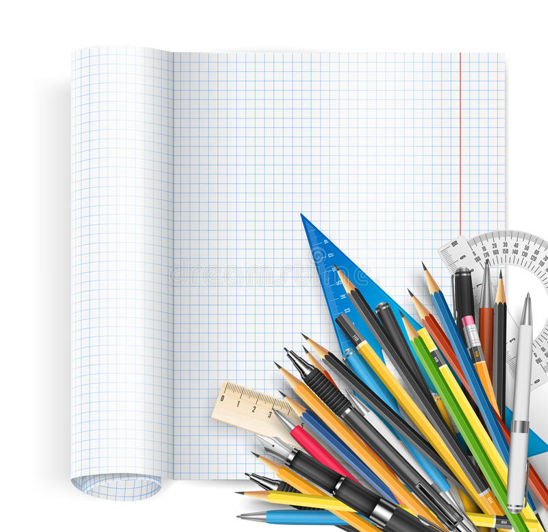 Notepad i pióra ilustracji