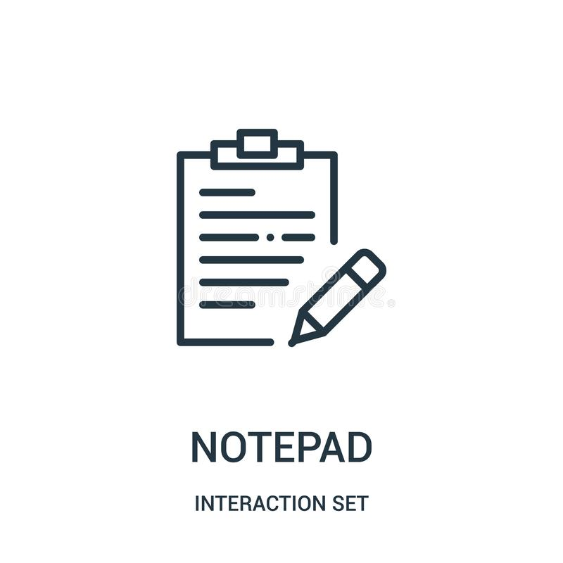 Notepad icon vector from interaction set collection. Thin line notepad outline icon vector illustration. Linear symbol for use on web and mobile apps, logo royalty free illustration