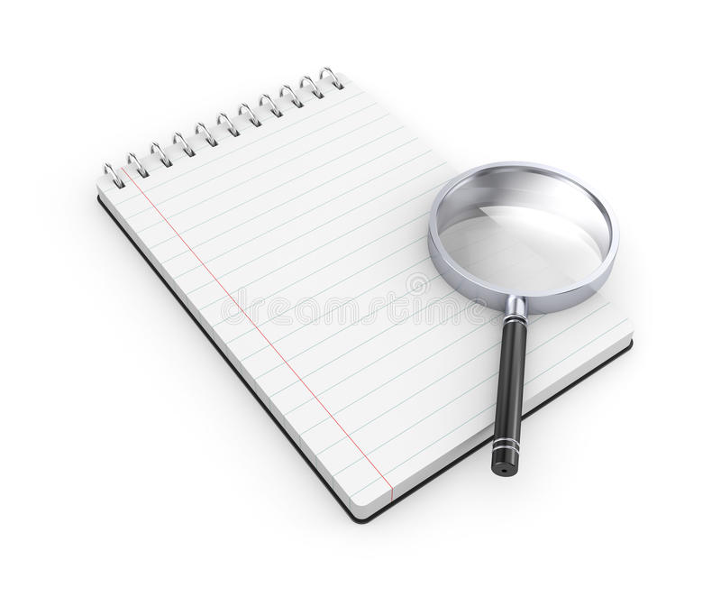 Notepad with magnify glass stock illustration