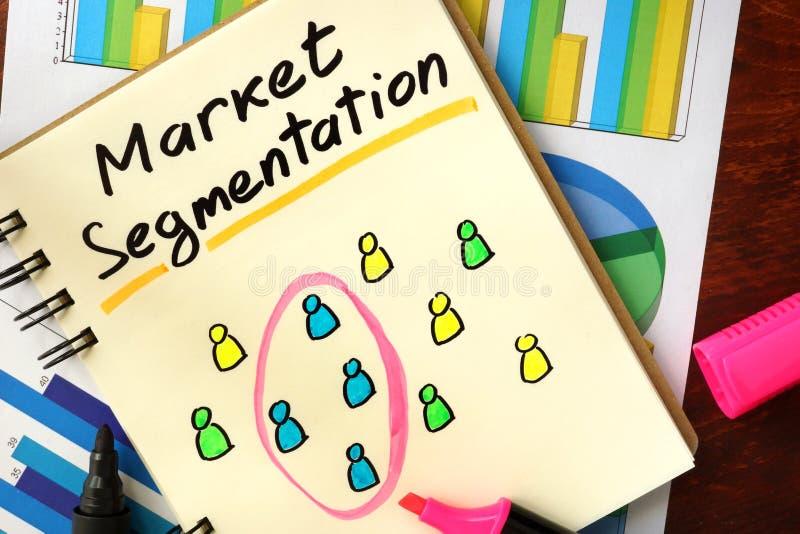 Notepad med marknadssegmentering royaltyfri bild