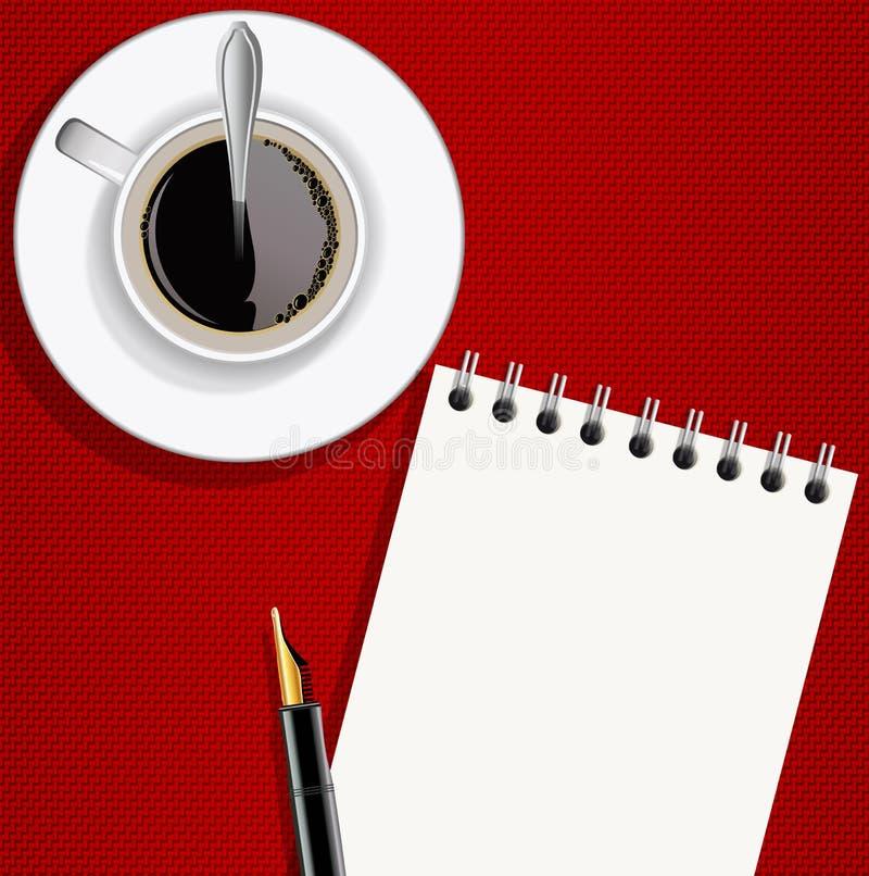 Notepad med reservoarpennan och koppen kaffe royaltyfri illustrationer