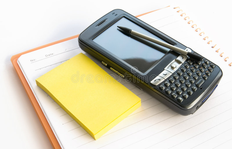 Notepad,memo and PDA stock images