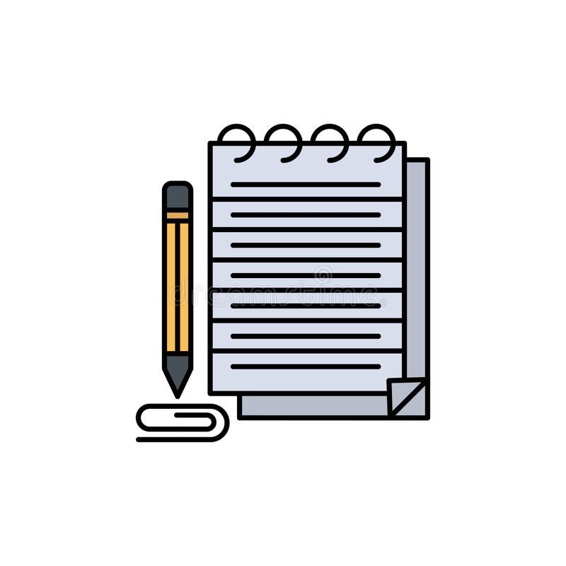 Notepad, Notebook, Pad, Ícone de Cor Plana Rompente Modelo de banner de ícone de vetor ilustração do vetor