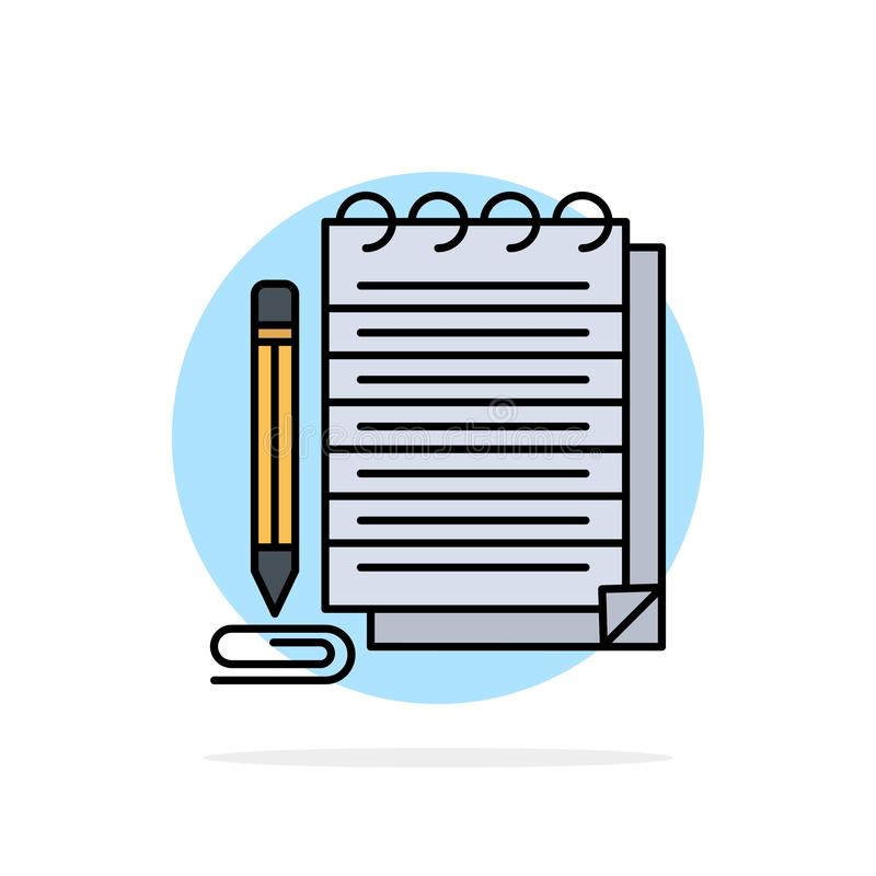 Notepad, Notebook, Pad, Novo Círculo Abstrato Ícone de Cor Plano de Fundo ilustração stock