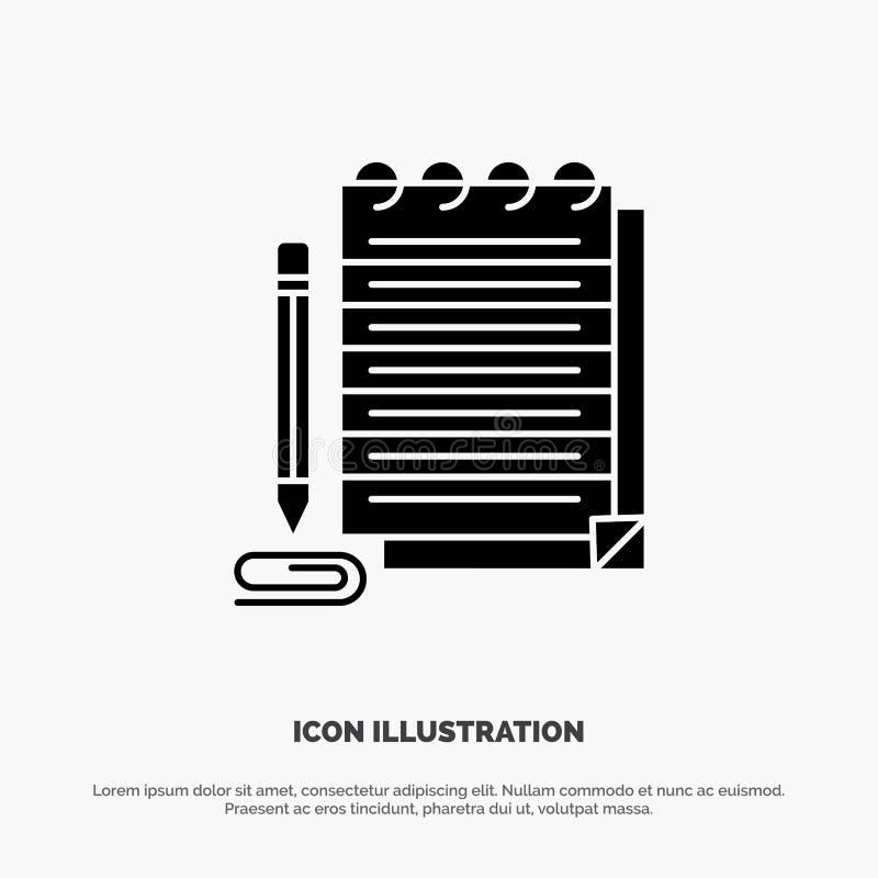 Notepad, Notebook, Pad, Novo vetor de ícone de glifo sólido ilustração do vetor