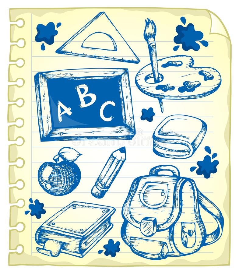 Notepad page with school drawings 1 stock illustration