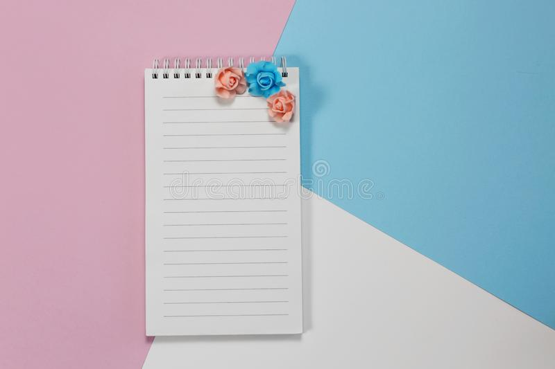 White Notepad On White And Pink Background Stock Photo ...
