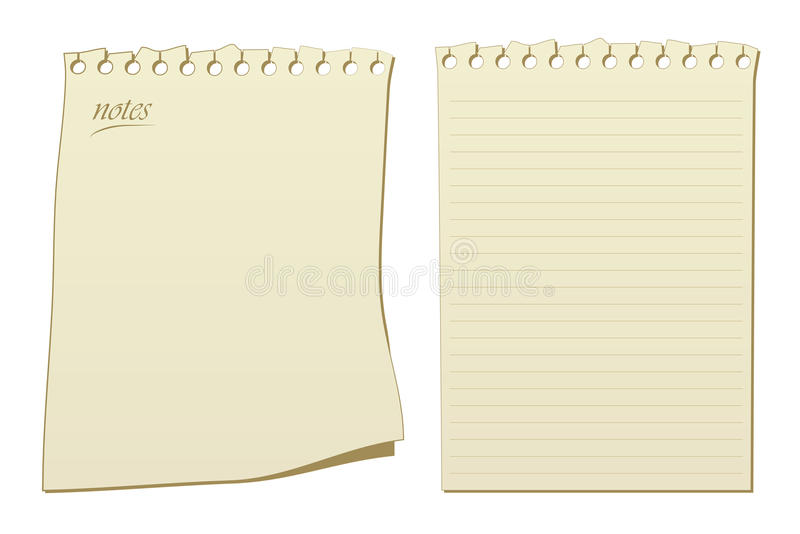 Notepad pages vector. Two vectors of note pad pages, one with lines stock illustration