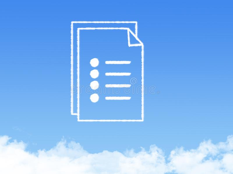 Notepad paper document cloud shape stock photos