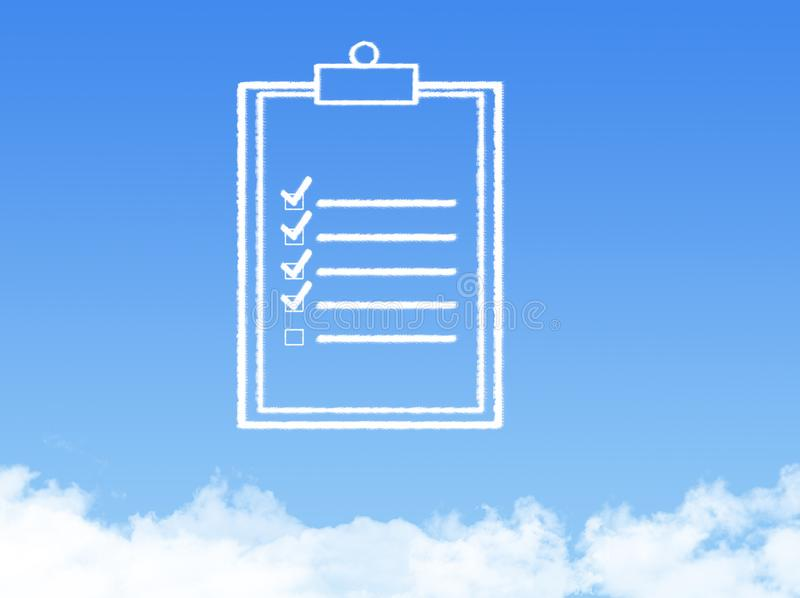 Notepad paper document cloud shape royalty free stock image