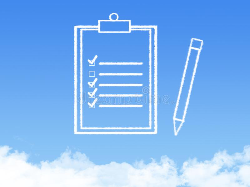 Notepad paper document cloud shape stock photography