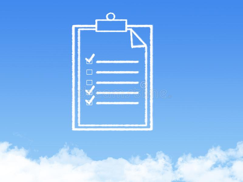 Notepad paper document cloud shape royalty free stock photography