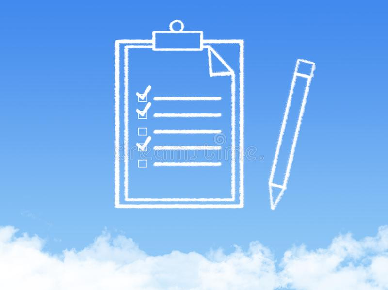 Notepad paper document cloud shape stock photo