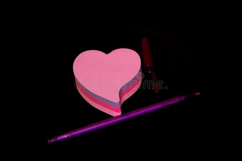 Download Notepad an pen stock image. Image of paper, posit, heart - 151021
