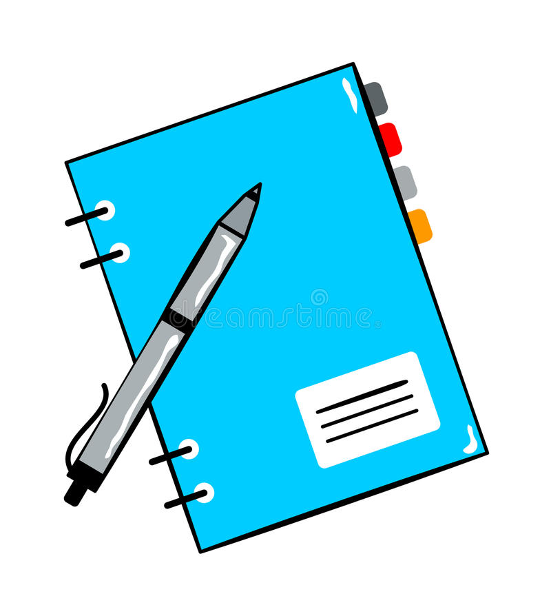 Notepad with pen cartoon sticker in retro style royalty free illustration