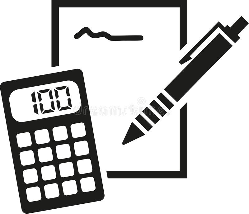 Notepad, pencil and calculator icon vector illustration