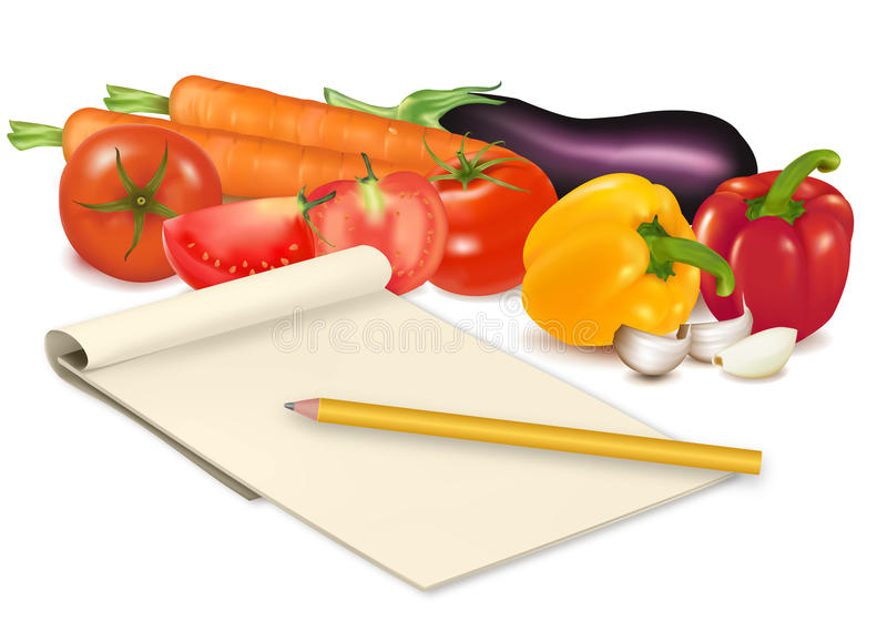 Notepad with recipe. Notepad with recipe, garlic, tomato and some vegetables with pencil on table. Vector vector illustration