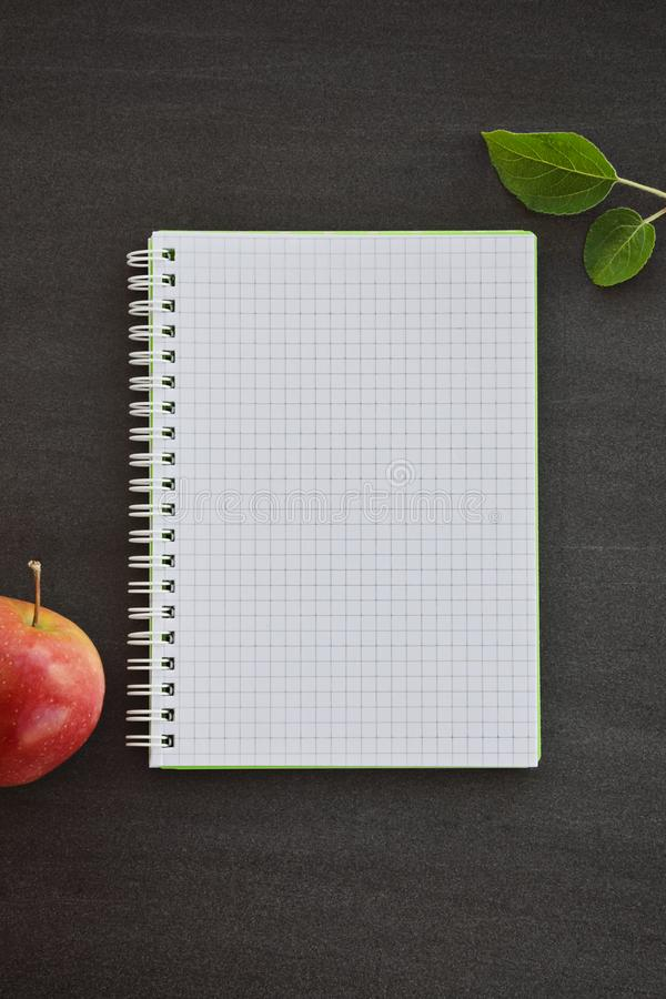 Notepad and red apple on chalkboard royalty free stock photography