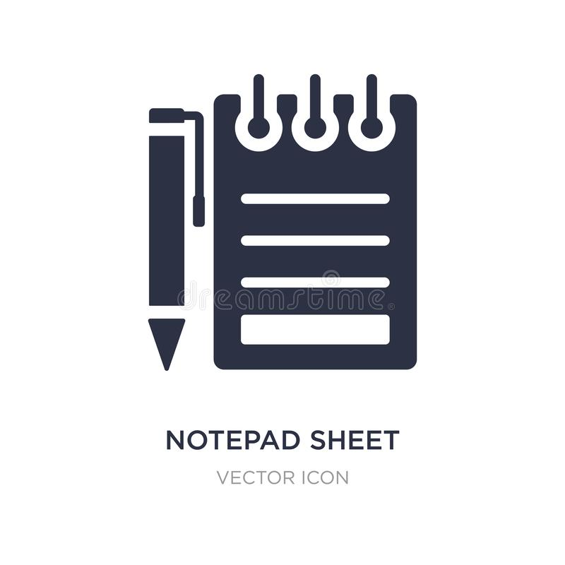 Notepad sheet icon on white background. Simple element illustration from Other concept. Notepad sheet sign icon symbol design stock illustration