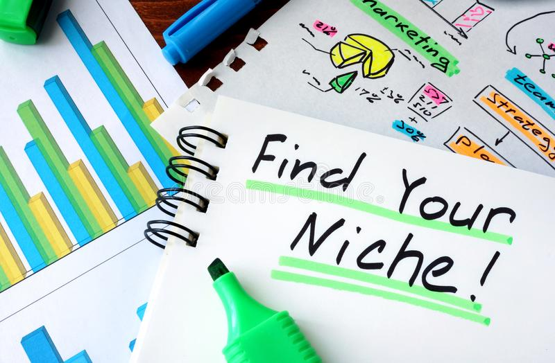 Notepad with sign Find Your Niche. stock image