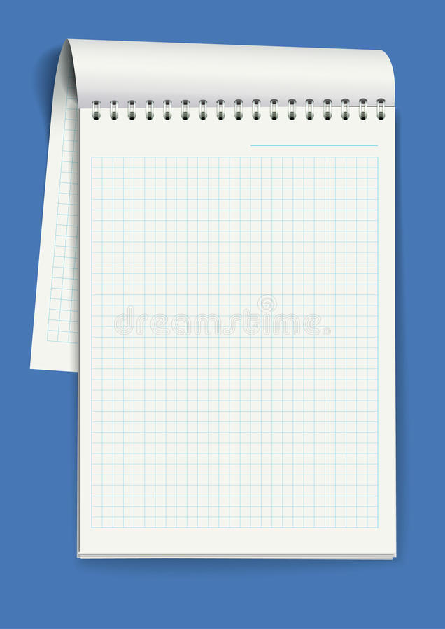 Notepad with spiral binding of pages stock illustration