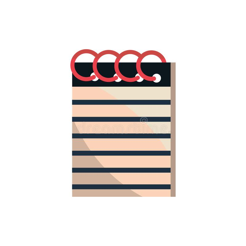 Notepad with spiral office work business equipment icon stock illustration