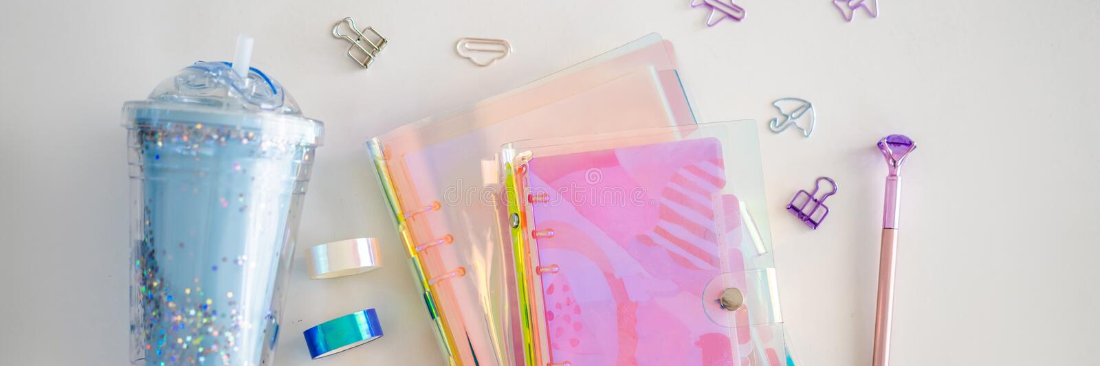 Notepad and stationery on white background. Planner for business and study. Fans of stationery BANNER, LONG FORMAT. Notepad and stationery on white background stock images