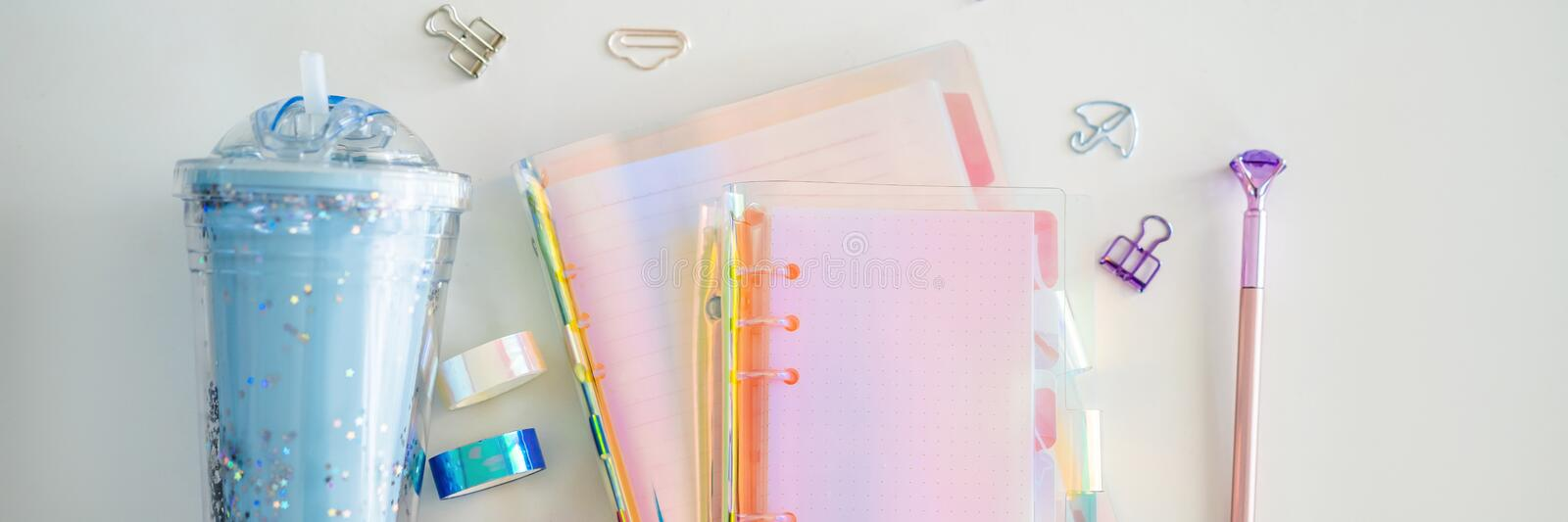 Notepad and stationery on white background. Planner for business and study. Fans of stationery BANNER, LONG FORMAT. Notepad and stationery on white background stock photos