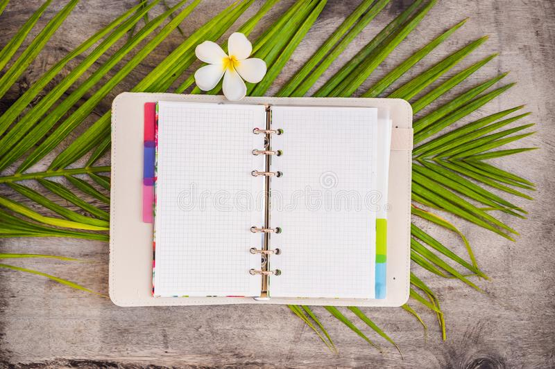 Notepad and stationery on wooden background. Planner for business and study. Fans of stationery.  stock images
