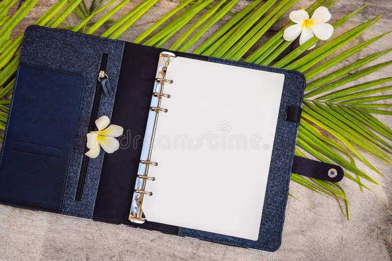 Notepad and stationery on wooden background. Planner for business and study. Fans of stationery.  royalty free stock photo