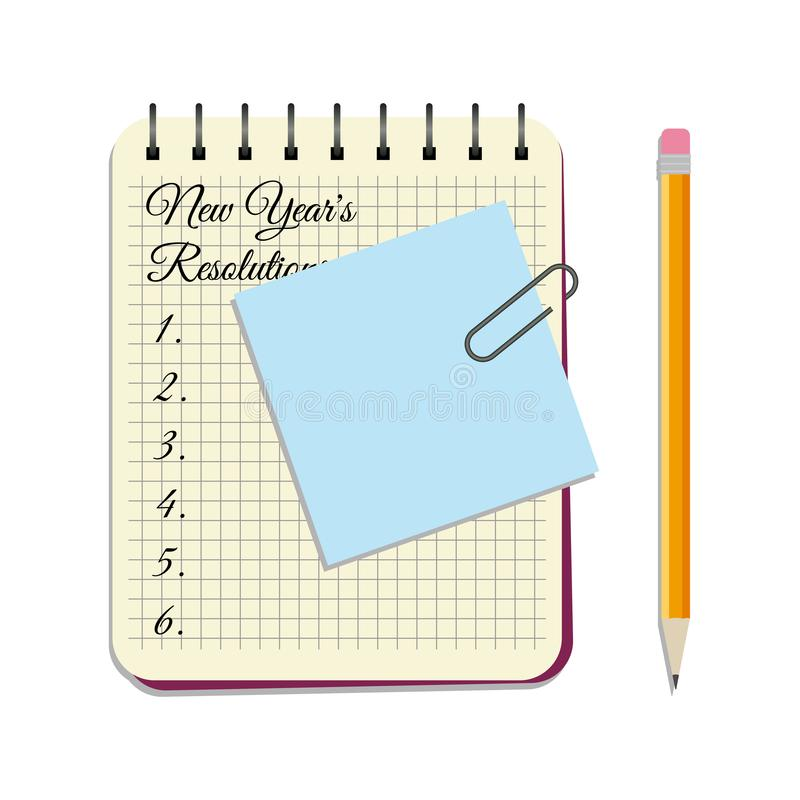 Notepad with title New Year`s Resolutions royalty free illustration