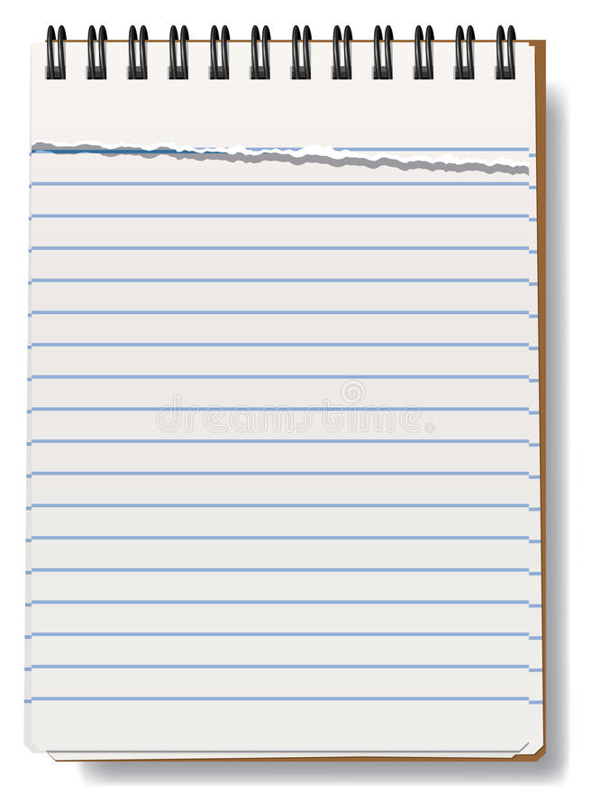 Notepad with torn sheet stock vector Illustration of