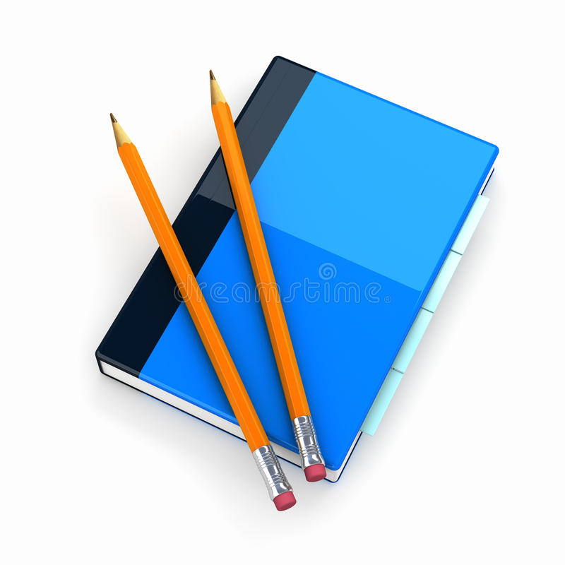 Notepad with two pencils stock illustration