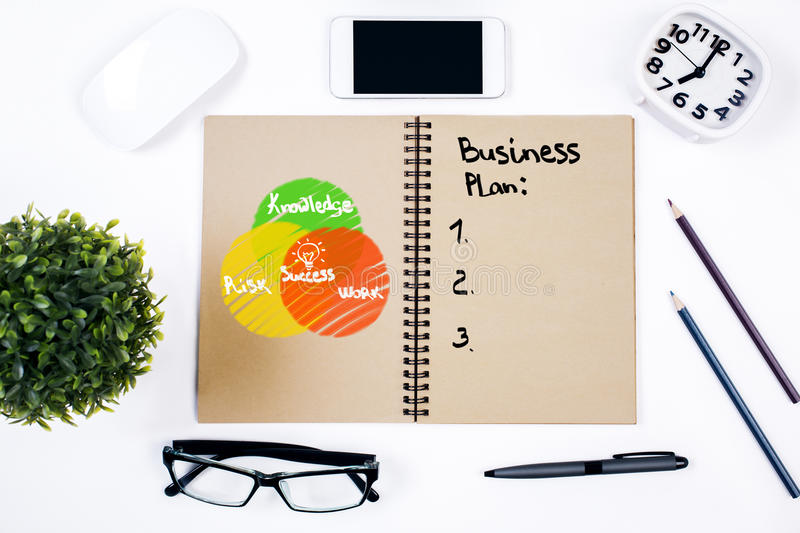 Notepad with unfinished business plan stock image