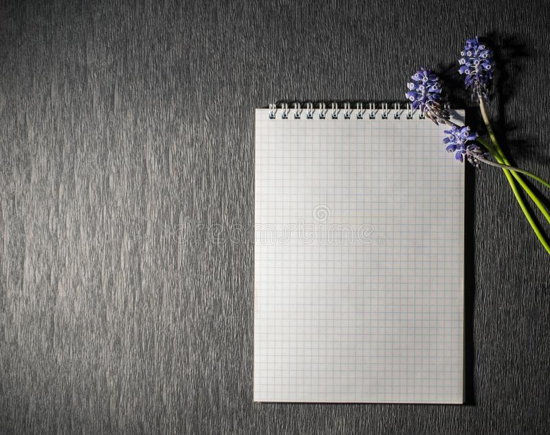 Notepad with wild flowers stock images