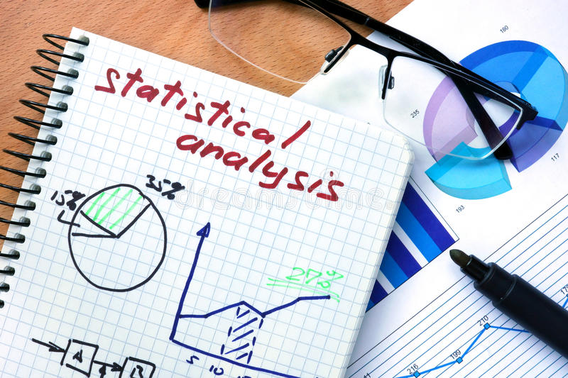 Notepad with words statistical analysis royalty free stock images