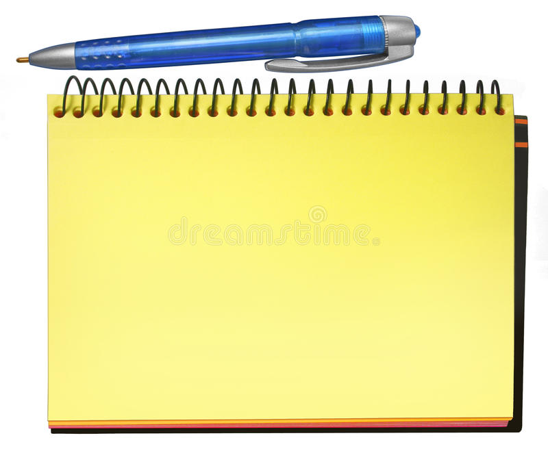 Notepad yellow stock image