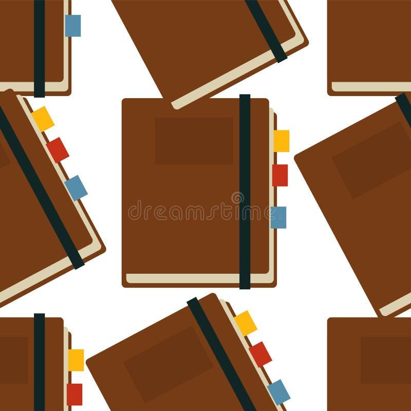Notepad z bookmarks bezszwowym deseniowym pisarskim akcesoryjnym organizatorem royalty ilustracja