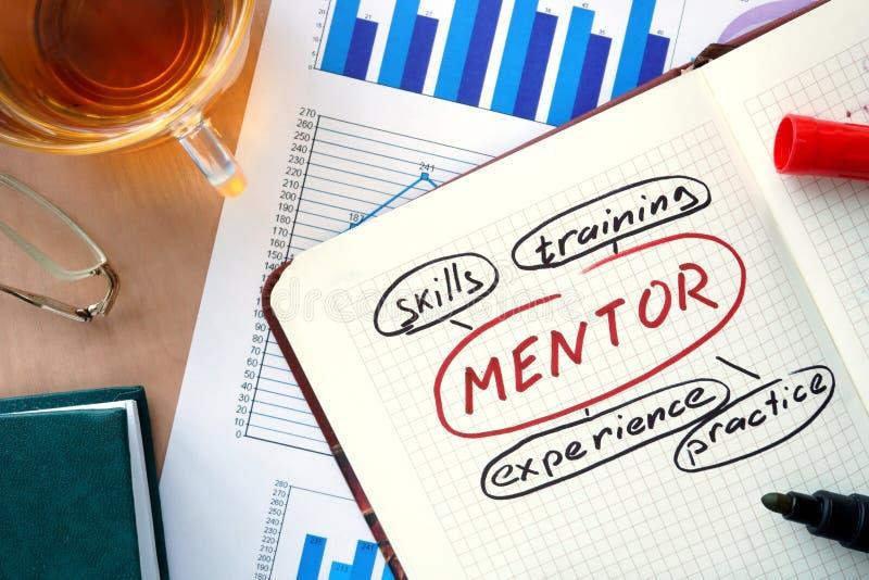 Notepad z słowo mentora pojęciem obrazy royalty free
