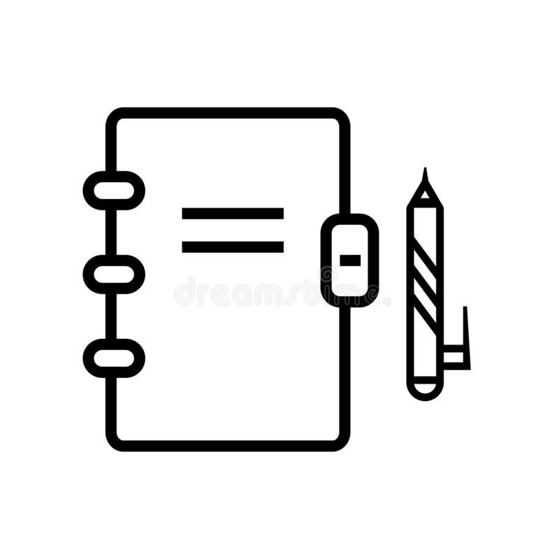 Notepadsymbolsvektor som isoleras på vit bakgrund, Notepadtecken, linjärt symbol och slaglängddesignbeståndsdelar i översiktsstil royaltyfri illustrationer
