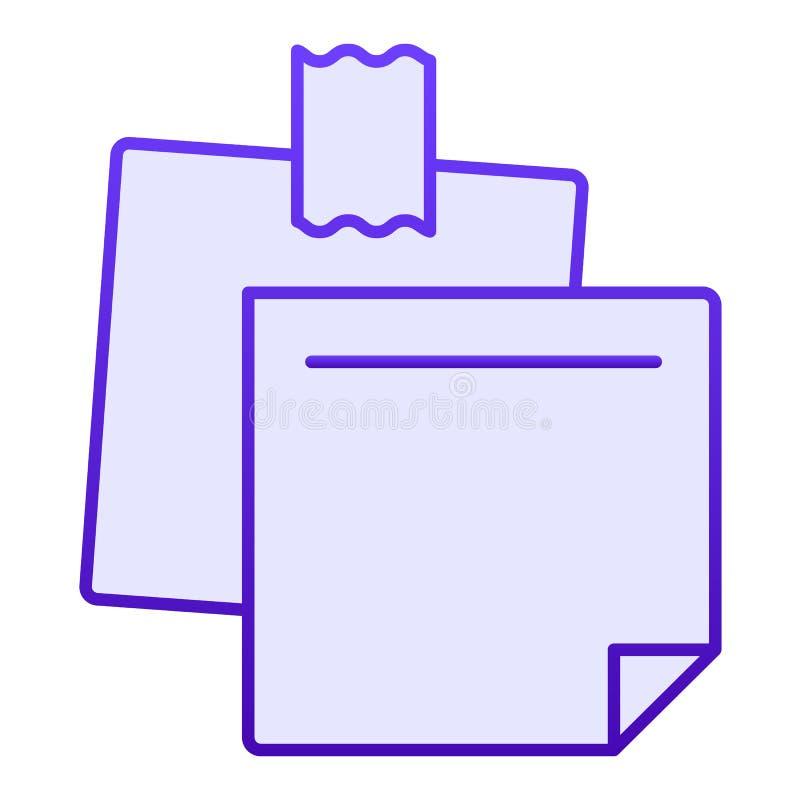 Notepaper mieszkania ikona Kleistych notatek błękitne ikony w modnym mieszkaniu projektują Papierowy majcheru gradientu stylu pro ilustracja wektor