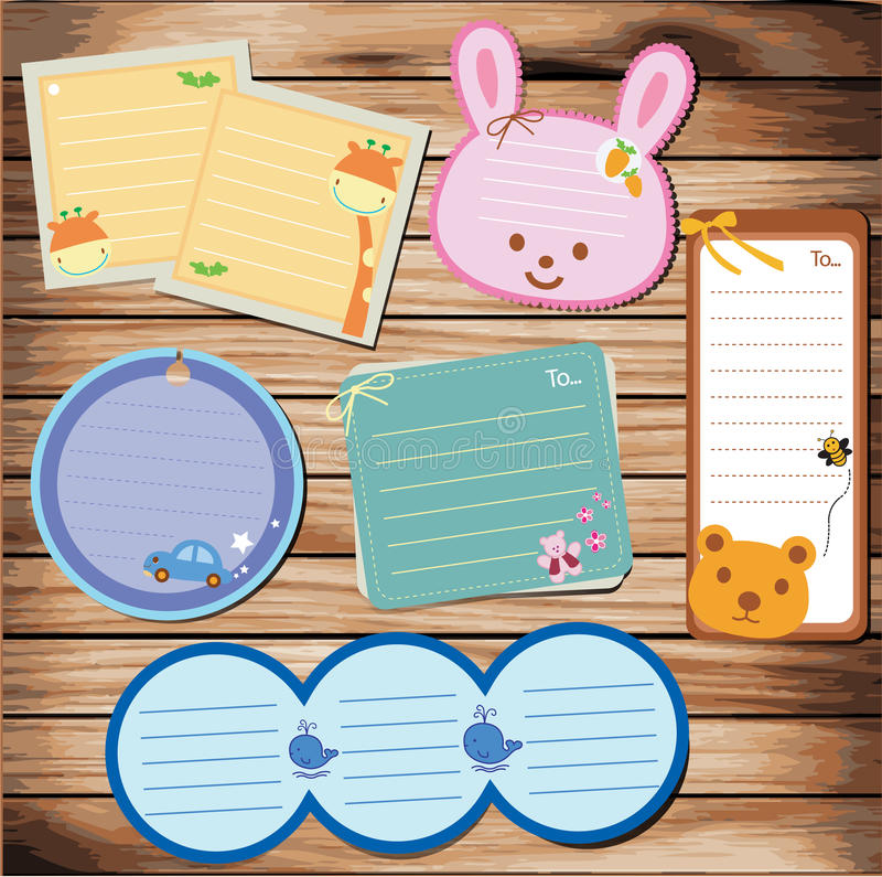 Notepaper on wood background. illustrat stock illustration