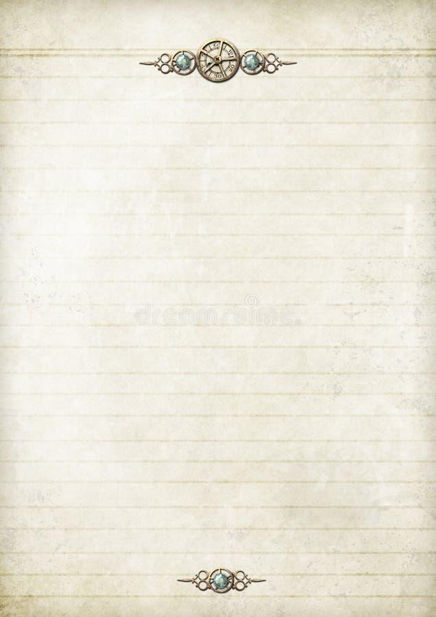 notepapersteampunk stock illustrationer